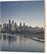 Philadelphia At Dawn From The South Street Bridge Wood Print