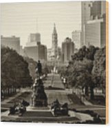 Philadelphia Benjamin Franklin Parkway In Sepia Wood Print