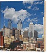 Philadelphia Blue Skies Wood Print by Bill Cannon