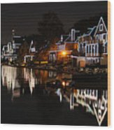 Philadelphia Boathouse Row At Night Wood Print
