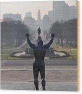 Philadelphia Champion - Rocky Wood Print by Bill Cannon