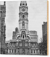 Philadelphia City Hall Building On Broad Street Wood Print