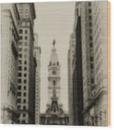 Philadelphia City Hall From South Broad Street Wood Print