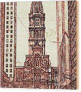 Philadelphia City Hall - Pencil Wood Print