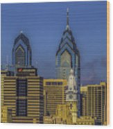 Philadelphia City Hall Skyline Wood Print
