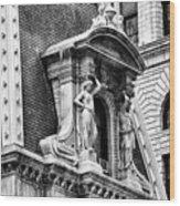 Philadelphia City Hall Window In Black And White Wood Print