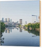 Philadelphia Cityscape Along The Schuylkill River Wood Print