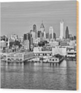 Philadelphia From The Waterfront In Black And White Wood Print