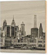 Philadelphia From The Waterfront In Sepia Wood Print