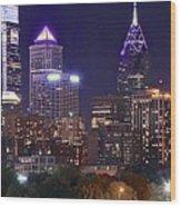 Philadelphia Full Moon Panorama Wood Print