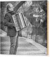 Philadelphia Music Man Bnw Wood Print
