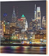 Philadelphia Philly Skyline At Night From East Color Wood Print