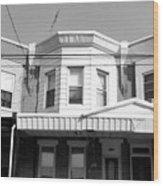 Philadelphia Row Houses - Black And White Wood Print