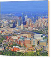 Philadelphia Skyline 3400 Civic Center Blvd Wood Print