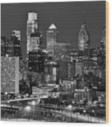 Philadelphia Skyline At Night Black And White Bw  Wood Print