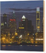 Philadelphia Skyline At Night Wood Print by Brendan Reals