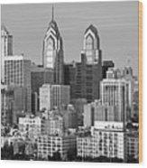 Philadelphia Skyline Black And White Bw Wide Pano Wood Print