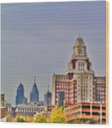 Philadelphia Skyline From Camden Waterfront Wood Print