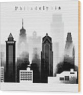 Philadelphia Skyline Graphic Work Wood Print