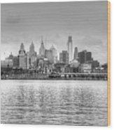 Philadelphia Skyline In Black And White Wood Print