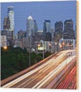 Philadelphia Skyline Night Wood Print by Binh Ly