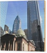 Philadelphia Street Level - Skyscrapers And Classical Building View Wood Print