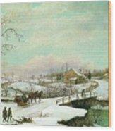 Philadelphia Winter Landscape Ca. 1830 - 1845 By Thomas Birch Wood Print