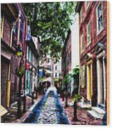 Philadelphia's Elfreth's Alley Wood Print
