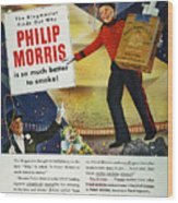 Philip Morris Cigarette Ad Wood Print