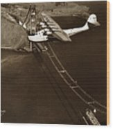 Philippine Clipper A Pan Am Clipper Over The Golden Gate Bridge  1935 Wood Print