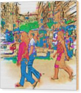 Philippine Girls Crossing Street Wood Print