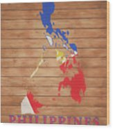 Philippines Rustic Map On Wood Wood Print