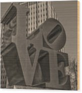 Philly Esque  - Love Statue In Sepia Wood Print