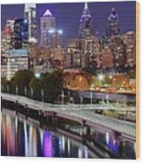 Philly In Panoramic View Wood Print