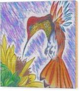 Phoenix Fire Hummingbird Wood Print