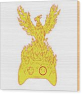 Phoenix Rising Fiery Flames Over Game Controller Drawing Wood Print