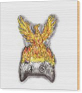 Phoenix Rising Over Burning Game Controller Tattoo Wood Print