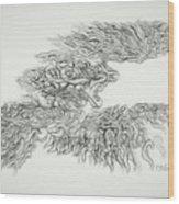 Phoenix Rising Sketch Wood Print