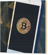 Phone With A Bitcoin Laying On Top Of It. Wood Print