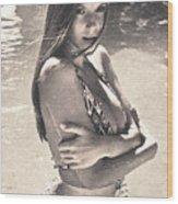 Photograph Vintage Summer Look With Woman In Bikini #8624m Wood Print