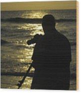 Photographer And Atlantic Ocean Sunrise Wood Print