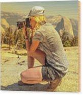 Photographer On Sentinel Dome Wood Print
