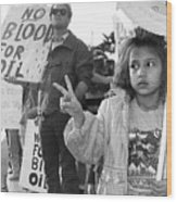 Photography Homage Alfred Eisenstadt Hispanic Girl V For Victory Sign Anti Gulf War Rally Tucson Az Wood Print