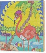 Pia The Flamboyant Flamingo Wood Print