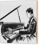 Pianist Wood Print
