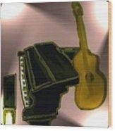 Piano And Guitar Wood Print