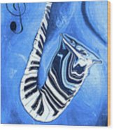 Piano Keys In A Saxophone Blue - Music In Motion Wood Print