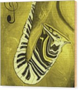 Piano Keys In A  Saxophone Golden - Music In Motion Wood Print