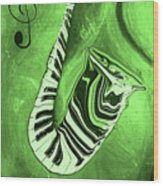 Piano Keys In A  Saxophone Green Music In Motion Wood Print