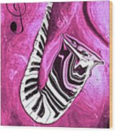 Piano Keys In A Saxophone Hot Pink - Music In Motion Wood Print